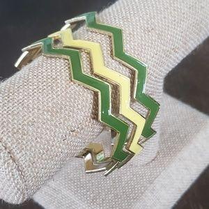Set of 3 stackable Chevron bangle bracelets green